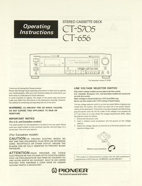Pioneer CT-S 705 / CT-656 Bedienungsanleitung