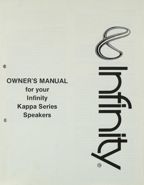 Infinity Kappa Series Speakers Bedienungsanleitung