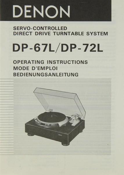 Denon DP-67 L / DP-72 L Bedienungsanleitung