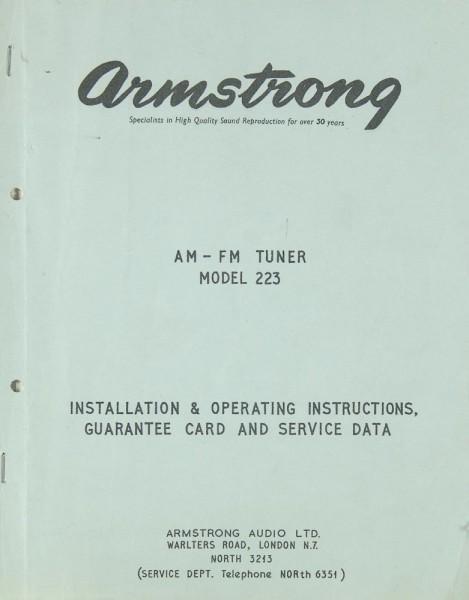 Armstrong 223 Bedienungsanleitung