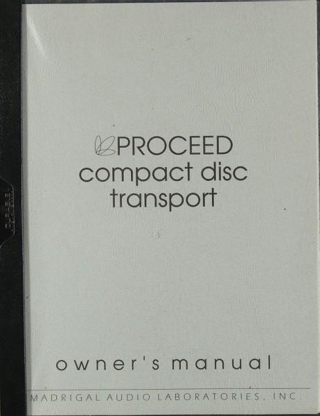 Proceed Compact Disc Transport Bedienungsanleitung