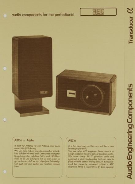 AEC - Audio Engineering Components Transducer a Alpha Prospekt / Katalog
