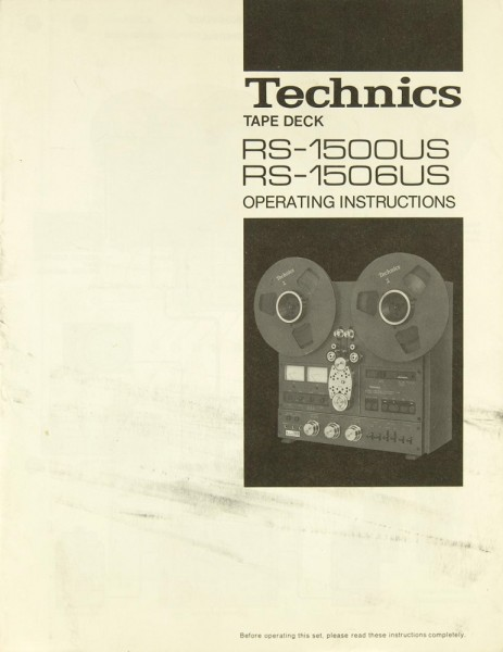 Technics RS-1500 US / RS-1506 US Bedienungsanleitung