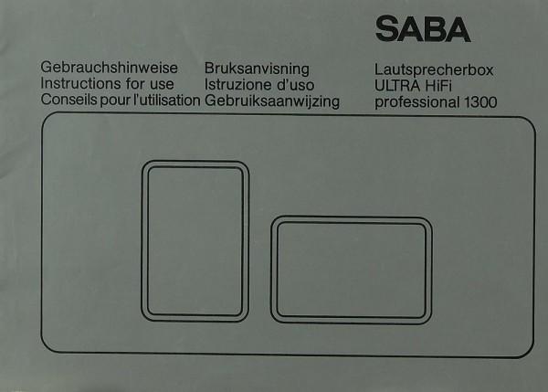 Saba Ultra Hifi Professional 1300 Bedienungsanleitung