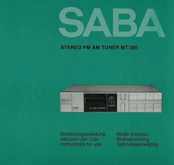 Saba MT 380 Bedienungsanleitung