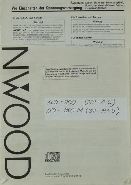 Kenwood UD-900 (DP-A 9) / UD-900 M (DP-MA 9) Bedienungsanleitung