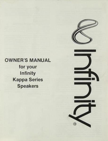 Infinity Kappa Series Bedienungsanleitung