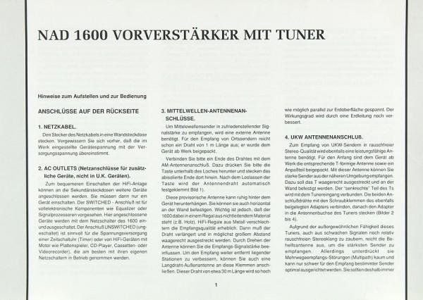 NAD 1600 Bedienungsanleitung