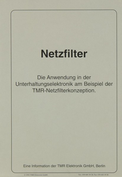 TMR NK 1 / NK 2 / FS 3 / FS 8 u.a. Prospekt / Katalog