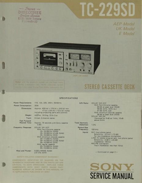Sony TC-229 SD Schaltplan / Serviceunterlagen