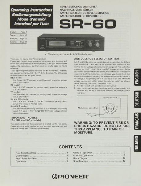 Pioneer SR-60 Bedienungsanleitung