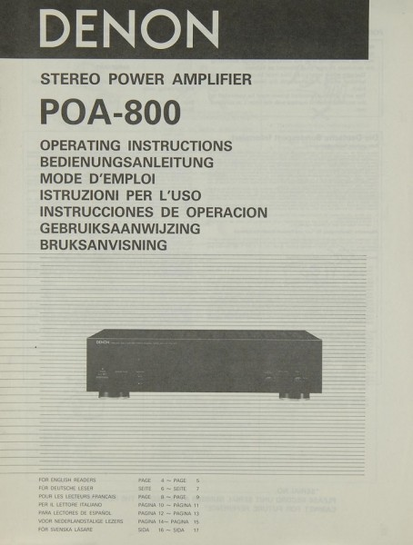 Denon POA-800 Bedienungsanleitung