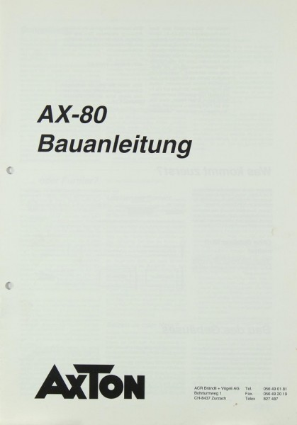 Axton AX-80 Bedienungsanleitung