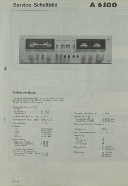 Rosita A 6500 Schaltplan / Serviceunterlagen