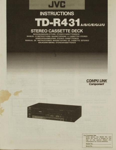JVC TD-R 431 (A/B/C/E/G/J/U) Bedienungsanleitung