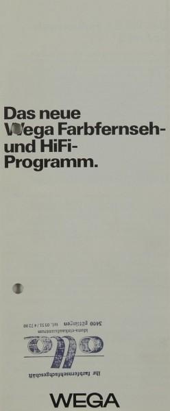 Wega Das neue Wega Farbfernseh- und Hifi-Programm Prospekt / Katalog