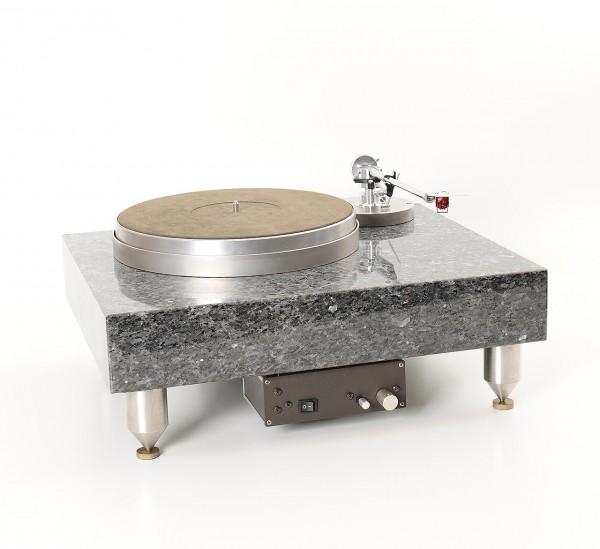 Schwerer Plattenspieler in Granit Zarge mit Luxman Technik