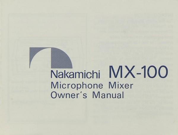 Nakamichi MX-100 Bedienungsanleitung
