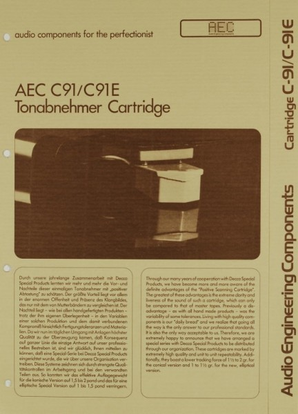 AEC - Audio Engineering Components C-91 / C-91 E Prospekt / Katalog