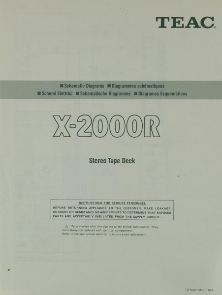 Teac X-2000 R Schaltplan / Serviceunterlagen