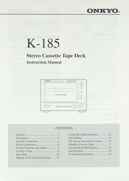 Onkyo K-185 Bedienungsanleitung