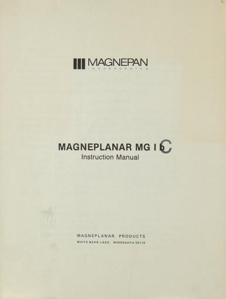 Magnepan Magneplanar MG 1 b / c Bedienungsanleitung