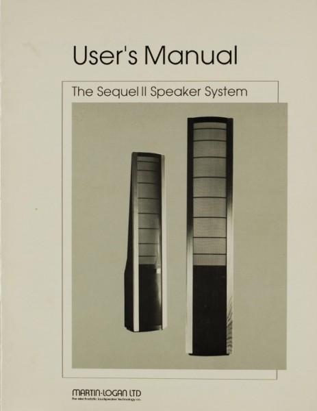 Martin Logan The Sequel II Speaker System Bedienungsanleitung