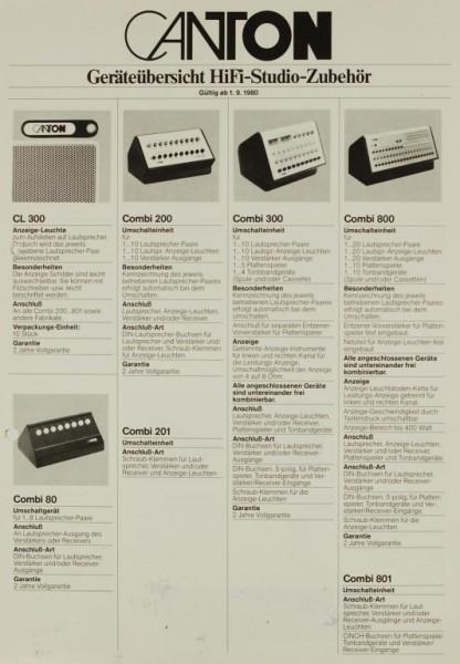 Canton Geräteübersicht HiFi-Studio-Zubehör 1.9.1980 Prospekt / Katalog