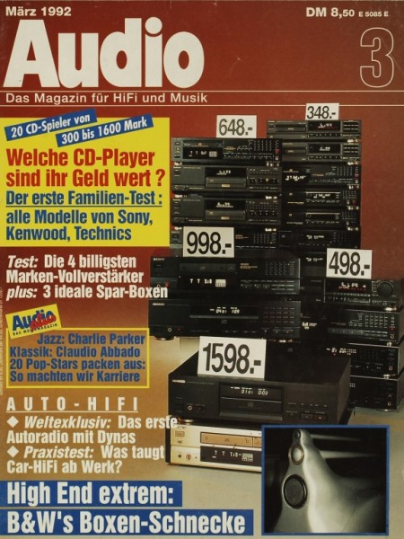 Audio 3/1992 Zeitschrift