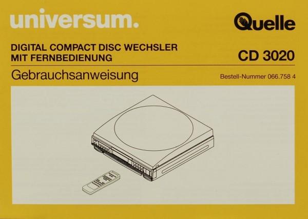 Universum / Quelle CD 3020 Bedienungsanleitung