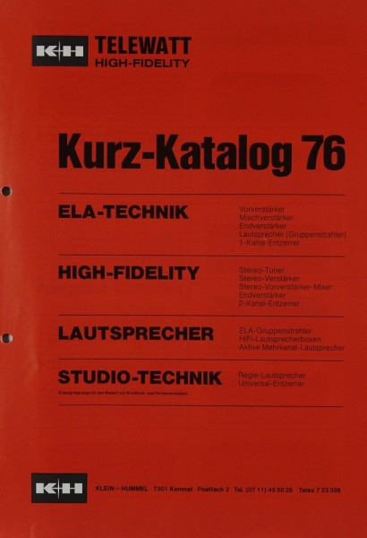 K + H Kurz-Katalog 76 Prospekt / Katalog