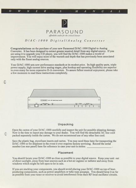 Parasound D/AC-1000 Bedienungsanleitung
