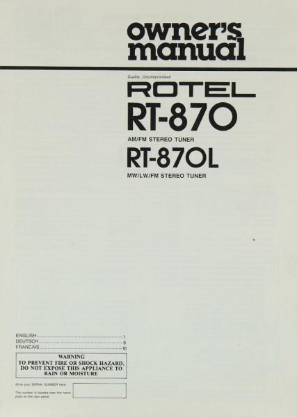 Rotel RT-870 / RT-870 L Bedienungsanleitung