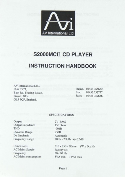 AVI S 2000 MC II Bedienungsanleitung