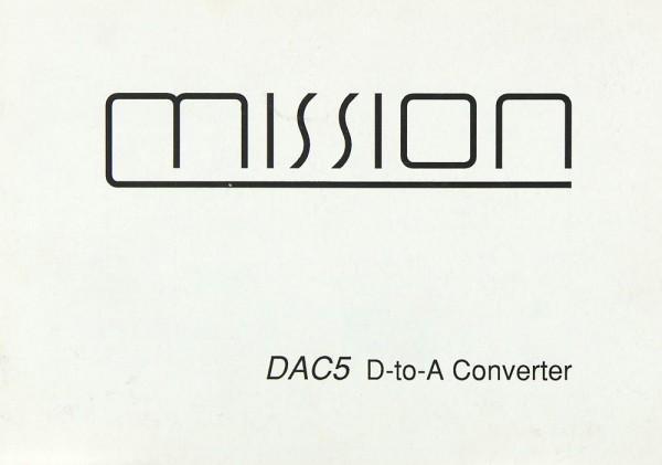 Mission / Cyrus DAC 5 Bedienungsanleitung