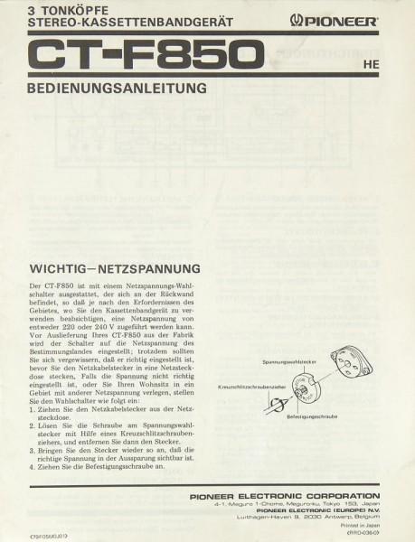 Pioneer CT-F 850 Bedienungsanleitung