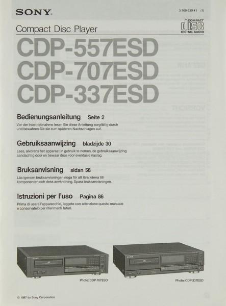 Sony CDP-557 ESD / 707 ESD / 337 ESD Bedienungsanleitung