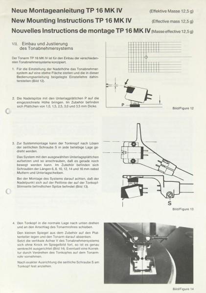 Thorens TP 16 MK IV Bedienungsanleitung