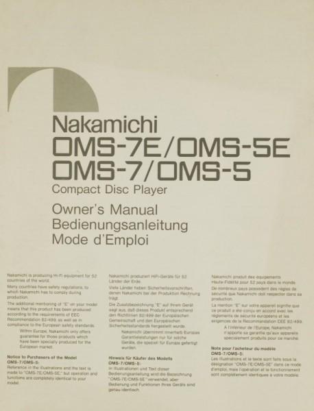 Nakamichi OMS-7 E / OMS-5 E / OMS-7 / OMS-5 Bedienungsanleitung