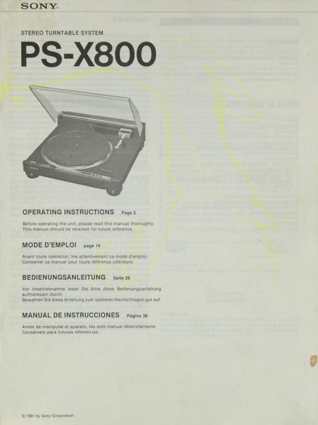 Sony PS-X 800 Bedienungsanleitung