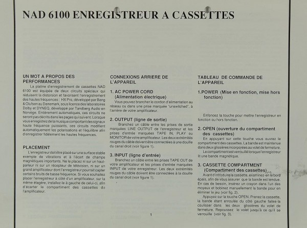 NAD 6100 Bedienungsanleitung
