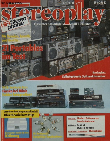 Stereoplay 5/1986 Zeitschrift