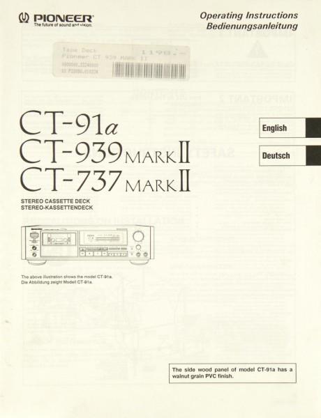 Pioneer CT-91 a / CT-939 Mark II / CT-737 Mark II Bedienungsanleitung