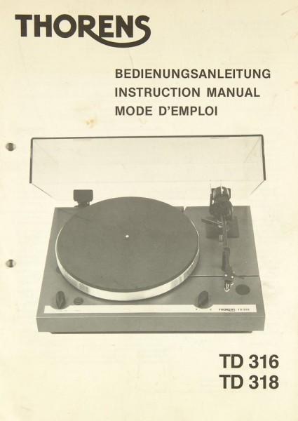 Thorens TD 316 / TD 318 Bedienungsanleitung