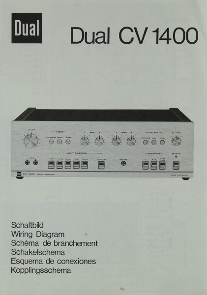 Dual CV 1400 Schaltplan / Serviceunterlagen | Vollverstärker | Dual ...