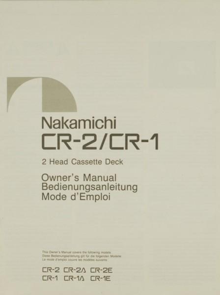 Nakamichi CR-2 / CR-1 Bedienungsanleitung