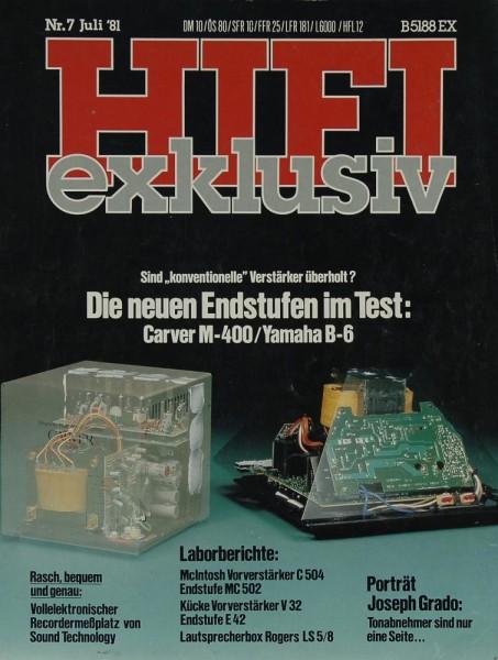 Hifi Exklusiv 7/1981 Zeitschrift