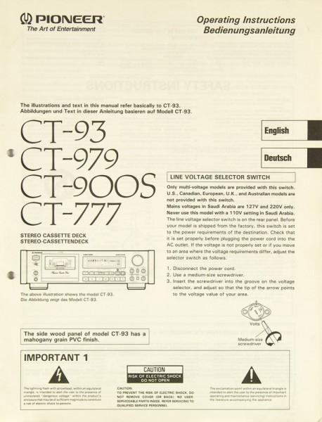 Pioneer CT-93 / CT-979 / CT-900 S / CT-777 Bedienungsanleitung