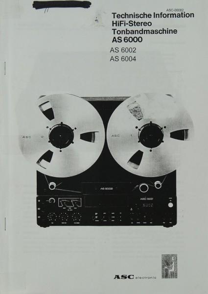 ASC AS 6000 / AS 6002 / AS 6004 Schaltplan / Serviceunterlagen