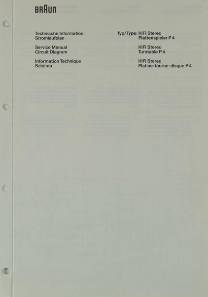 Braun P 4 Schaltplan / Serviceunterlagen